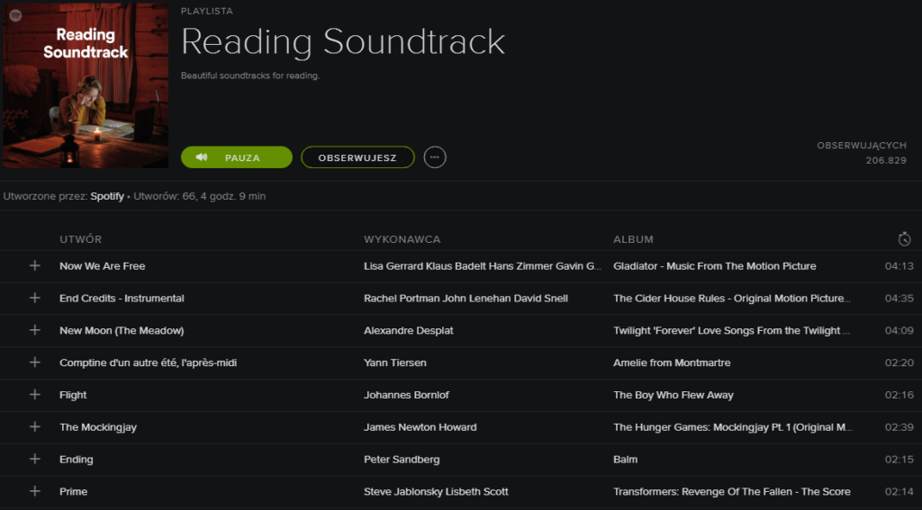 reading soundtrack