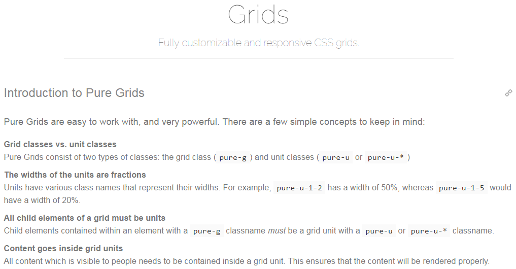 purecss grids